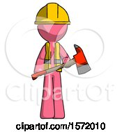 Pink Construction Worker Contractor Man Holding Red Fire Fighters Ax
