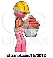 Pink Construction Worker Contractor Man Holding Large Cupcake Ready To Eat Or Serve