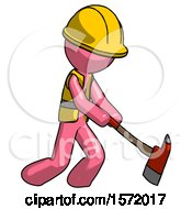 Pink Construction Worker Contractor Man Striking With A Red Firefighters Ax