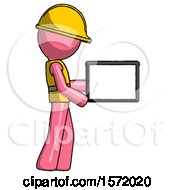 Pink Construction Worker Contractor Man Show Tablet Device Computer To Viewer Blank Area