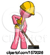 Pink Construction Worker Contractor Man Cleaning Services Janitor Sweeping Side View