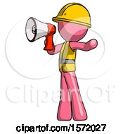 Pink Construction Worker Contractor Man Shouting Into Megaphone Bullhorn Facing Left