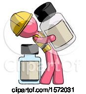 Pink Construction Worker Contractor Man Holding Large White Medicine Bottle With Bottle In Background