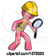 Pink Construction Worker Contractor Man Inspecting With Large Magnifying Glass Right
