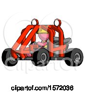 Pink Construction Worker Contractor Man Riding Sports Buggy Side Angle View