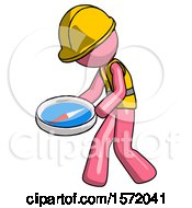 Pink Construction Worker Contractor Man Walking With Large Compass