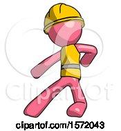 Pink Construction Worker Contractor Man Karate Defense Pose Left