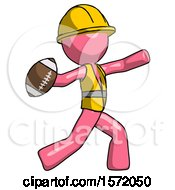 Pink Construction Worker Contractor Man Throwing Football