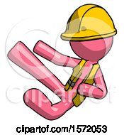 Pink Construction Worker Contractor Man Flying Ninja Kick Left