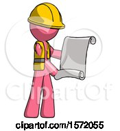Pink Construction Worker Contractor Man Holding Blueprints Or Scroll