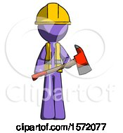 Purple Construction Worker Contractor Man Holding Red Fire Fighters Ax