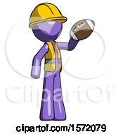 Purple Construction Worker Contractor Man Holding Football Up