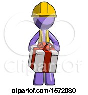 Purple Construction Worker Contractor Man Gifting Present With Large Bow Front View