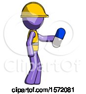 Purple Construction Worker Contractor Man Holding Blue Pill Walking To Right