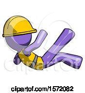 Purple Construction Worker Contractor Man Falling Backwards