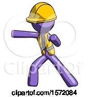 Purple Construction Worker Contractor Man Martial Arts Punch Left
