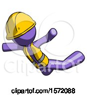 Purple Construction Worker Contractor Man Skydiving Or Falling To Death
