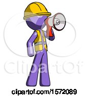 Purple Construction Worker Contractor Man Shouting Into Megaphone Bullhorn Facing Right