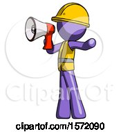 Purple Construction Worker Contractor Man Shouting Into Megaphone Bullhorn Facing Left