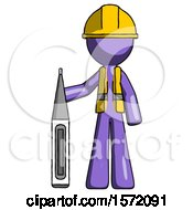 Purple Construction Worker Contractor Man Standing With Large Thermometer