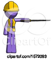 Purple Construction Worker Contractor Man Standing With Ninja Sword Katana Pointing Right