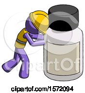 Purple Construction Worker Contractor Man Pushing Large Medicine Bottle