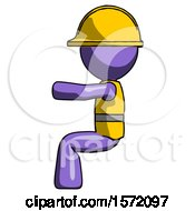 Purple Construction Worker Contractor Man Sitting Or Driving Position