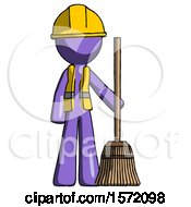 Purple Construction Worker Contractor Man Standing With Broom Cleaning Services