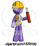 Purple Construction Worker Contractor Man Holding Dynamite With Fuse Lit