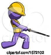 Purple Construction Worker Contractor Man With Ninja Sword Katana Slicing Or Striking Something