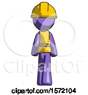 Purple Construction Worker Contractor Man Walking Away Back View
