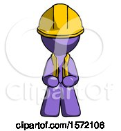 Purple Construction Worker Contractor Man Squatting Facing Front