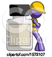 Purple Construction Worker Contractor Man Leaning Against Large Medicine Bottle