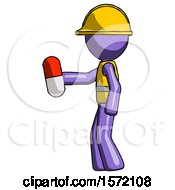 Purple Construction Worker Contractor Man Holding Red Pill Walking To Left