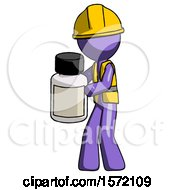 Purple Construction Worker Contractor Man Holding White Medicine Bottle