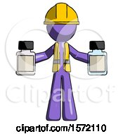 Purple Construction Worker Contractor Man Holding Two Medicine Bottles