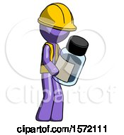 Purple Construction Worker Contractor Man Holding Glass Medicine Bottle