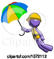 Purple Construction Worker Contractor Man Flying With Rainbow Colored Umbrella