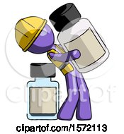 Purple Construction Worker Contractor Man Holding Large White Medicine Bottle With Bottle In Background