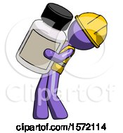 Purple Construction Worker Contractor Man Holding Large White Medicine Bottle
