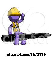 Purple Construction Worker Contractor Man Riding A Pen Like A Giant Rocket