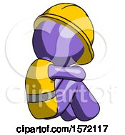 Purple Construction Worker Contractor Man Sitting With Head Down Back View Facing Right