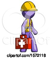 Purple Construction Worker Contractor Man Walking With Medical Aid Briefcase To Right
