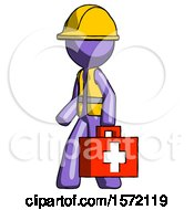Purple Construction Worker Contractor Man Walking With Medical Aid Briefcase To Left