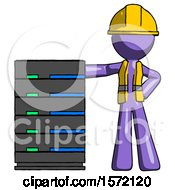 Purple Construction Worker Contractor Man With Server Rack Leaning Confidently Against It
