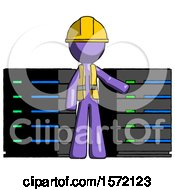 Purple Construction Worker Contractor Man With Server Racks In Front Of Two Networked Systems