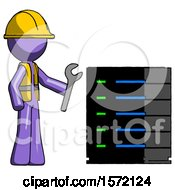 Purple Construction Worker Contractor Man Server Administrator Doing Repairs