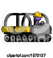 Purple Construction Worker Contractor Man Driving Amphibious Tracked Vehicle Side Angle View