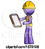 Purple Construction Worker Contractor Man Reviewing Stuff On Clipboard