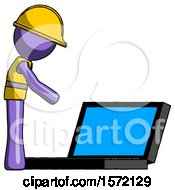 Purple Construction Worker Contractor Man Using Large Laptop Computer Side Orthographic View